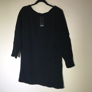 Nasty Gal Distressed Knitted Dress -Black- S/M-NWT